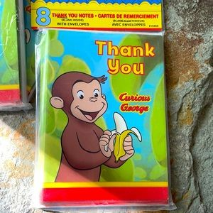 4/$30 - CURIOUS GEORGE thank you cards
